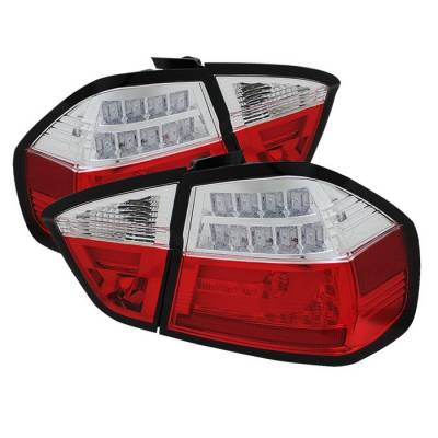 Headlights & Tail Lights - Tail Lights - Spyder - BMW 3 Series 4DR Spyder LED Indicator Light Bar LED Taillights - Red Clear - 111-BE9006-LBLED-G2-RC