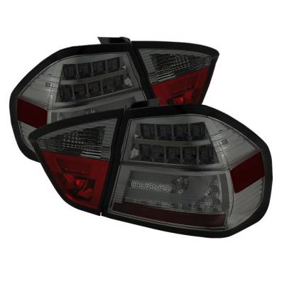 Headlights & Tail Lights - Tail Lights - Spyder - BMW 3 Series 4DR Spyder LED Indicator Light Bar LED Taillights - Smoke - 111-BE9006-LBLED-G2-SM