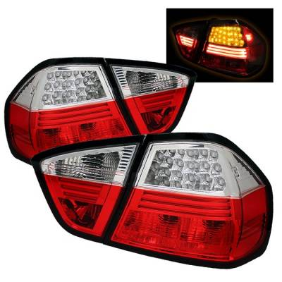 Headlights & Tail Lights - Tail Lights - Spyder - BMW 3 Series 4DR Spyder LED Taillights - Red Clear - 111-BE9006-LED-RC