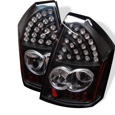 Headlights & Tail Lights - Tail Lights - Spyder - Chrysler 300 Spyder LED Taillights - Black - 111-C305-LED-BK