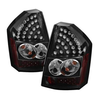 Headlights & Tail Lights - Tail Lights - Spyder - Chrysler 300 Spyder LED Taillights - Black - 111-C308-LED-BK