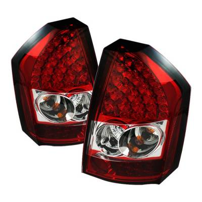 Headlights & Tail Lights - Tail Lights - Spyder - Chrysler 300 Spyder LED Taillights - Red Clear - 111-C308-LED-RC