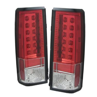 Headlights & Tail Lights - Tail Lights - Spyder - GMC Safari Spyder LED Taillights - Red Clear - 111-CAS85-LED-RC