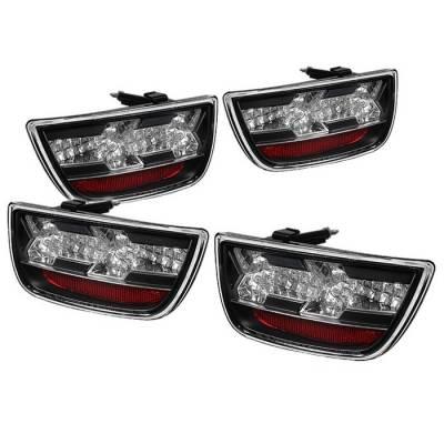 Headlights & Tail Lights - Tail Lights - Spyder - Chevrolet Camaro Spyder LED Taillights - Black - 111-CCAM2010-LED-BK
