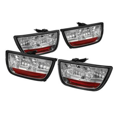 Headlights & Tail Lights - Tail Lights - Spyder - Chevrolet Camaro Spyder LED Taillights - Chrome - 111-CCAM2010-LED-C
