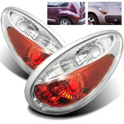 Headlights & Tail Lights - Tail Lights - Spyder Auto - Chrysler PT Cruiser Spyder Taillights - Chrome - 111-CHR305-LED-RC