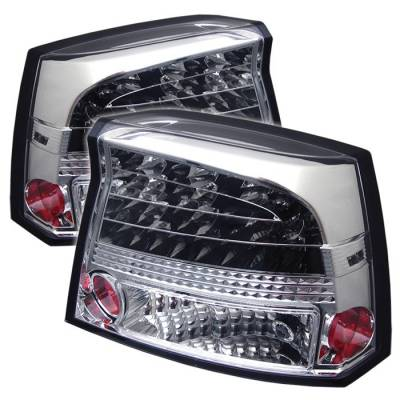Headlights & Tail Lights - Tail Lights - Spyder - Dodge Charger Spyder LED Taillights - Chrome - 111-DCH05-LED-C