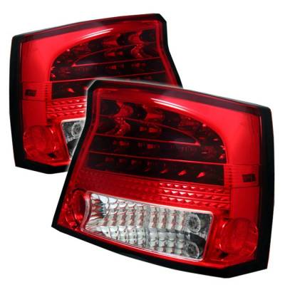 Headlights & Tail Lights - Tail Lights - Spyder - Dodge Charger Spyder LED Taillights - Red Clear - 111-DCH05-LED-RC