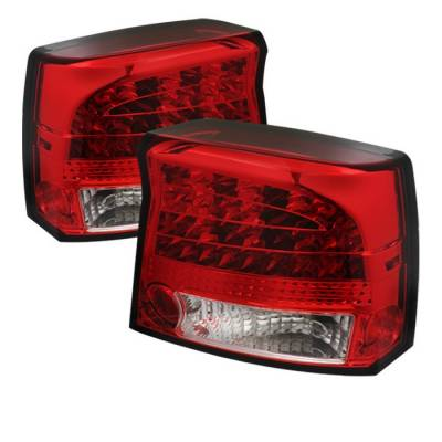 Headlights & Tail Lights - Tail Lights - Spyder - Dodge Charger Spyder LED Taillights - Red Clear - 111-DCH09-LED-RC