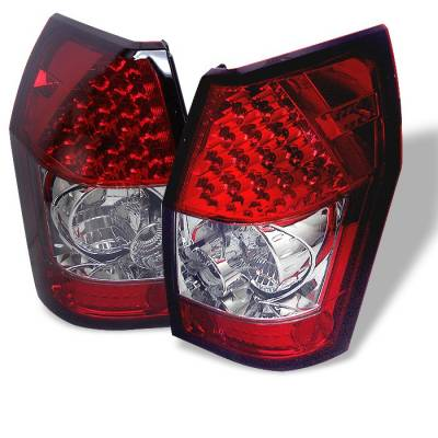 Headlights & Tail Lights - Tail Lights - Spyder - Dodge Magnum Spyder LED Taillights - Red Clear - 111-DMAG05-LED-RC