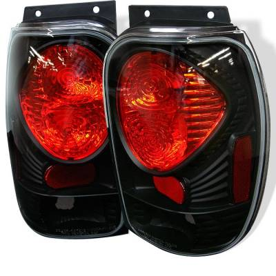 Headlights & Tail Lights - Tail Lights - Spyder - Mercury Mountaineer Spyder Euro Style Taillights - Black - 111-FEXP98-BK