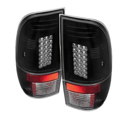 Headlights & Tail Lights - Tail Lights - Spyder - Ford F350 Superduty Spyder LED Taillights - Black - 111-FF15097-LED-BK