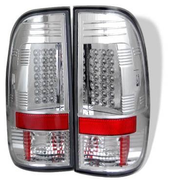 Headlights & Tail Lights - Tail Lights - Spyder - Ford F350 Superduty Spyder LED Taillights - Chrome - 111-FF15097-LED-C