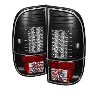 Headlights & Tail Lights - Tail Lights - Spyder - Ford F350 Superduty Spyder Version 2 LED Taillights - Black - 111-FF15097-LED-G2-BK