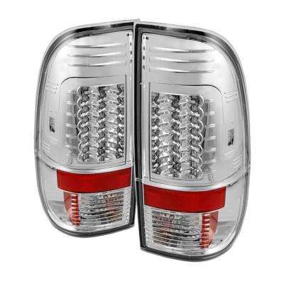Headlights & Tail Lights - Tail Lights - Spyder - Ford F350 Superduty Spyder Version 2 LED Taillights - Chrome - 111-FF15097-LED-G2-C