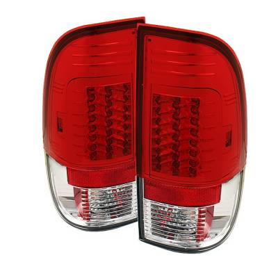 Headlights & Tail Lights - Tail Lights - Spyder - Ford F350 Superduty Spyder Version 2 LED Taillights - Red Clear - 111-FF15097-LED-G2-RC
