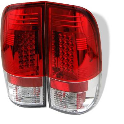 Headlights & Tail Lights - Tail Lights - Spyder - Ford F350 Superduty Spyder LED Taillights - Red Clear - 111-FF15097-LED-RC