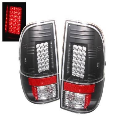 Headlights & Tail Lights - Tail Lights - Spyder - Ford F350 Superduty Spyder LED Taillights - Black - 111-FS07-LED-BK