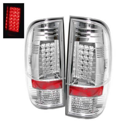 Headlights & Tail Lights - Tail Lights - Spyder - Ford F350 Superduty Spyder LED Taillights - Chrome - 111-FS07-LED-C