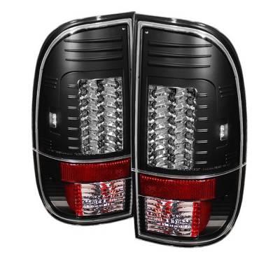 Headlights & Tail Lights - Tail Lights - Spyder - Ford F350 Superduty Spyder Version 2 LED Taillights - Black - 111-FS07-LED-G2-BK