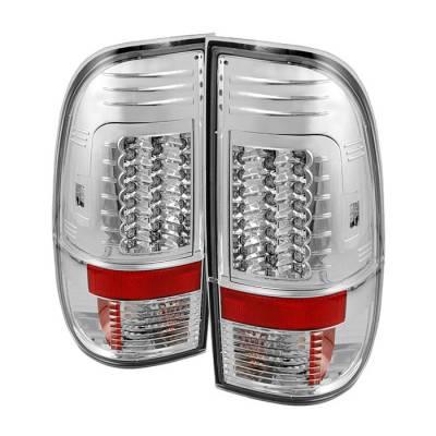 Headlights & Tail Lights - Tail Lights - Spyder - Ford F350 Superduty Spyder Version 2 LED Taillights - Chrome - 111-FS07-LED-G2-C