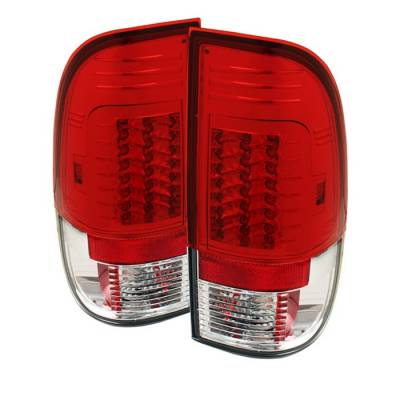Headlights & Tail Lights - Tail Lights - Spyder - Ford F350 Superduty Spyder Version 2 LED Taillights - Red Clear - 111-FS07-LED-G2-RC