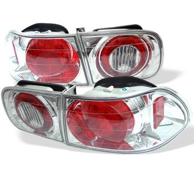 Headlights & Tail Lights - Tail Lights - Spyder - Honda Civic 2DR & 4DR Spyder Euro Style Taillights - Chrome - 111-HC92-24D-C