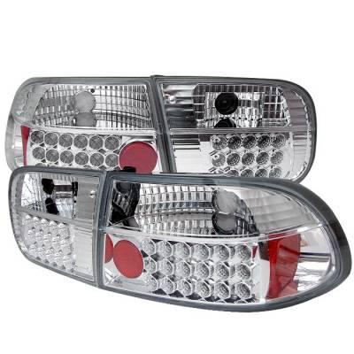 Headlights & Tail Lights - Tail Lights - Spyder - Honda Civic 2DR & 4DR Spyder LED Taillights - Chrome - 111-HC92-24D-LED-C