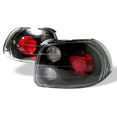 Headlights & Tail Lights - Tail Lights - Spyder - Honda Del Sol Spyder Euro Style Taillights - Black - 111-HDS93-BK