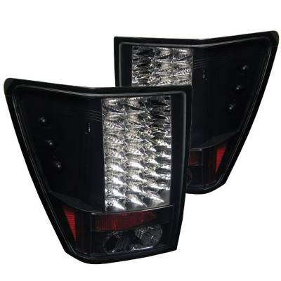 Headlights & Tail Lights - Tail Lights - Spyder - Jeep Grand Cherokee Spyder LED Taillights - Black - 111-JGC05-LED-BK