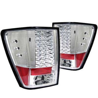 Headlights & Tail Lights - Tail Lights - Spyder - Jeep Grand Cherokee Spyder LED Taillights - Chrome - 111-JGC05-LED-C
