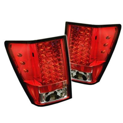 Headlights & Tail Lights - Tail Lights - Spyder - Jeep Grand Cherokee Spyder LED Taillights - Red Clear - 111-JGC05-LED-RC