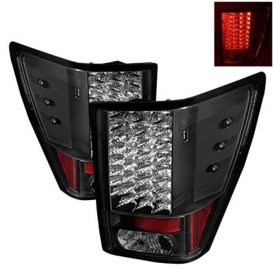Headlights & Tail Lights - Tail Lights - Spyder - Jeep Grand Cherokee Spyder LED Taillights - Black - 111-JGC07-LED-BK