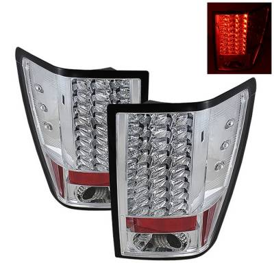 Headlights & Tail Lights - Tail Lights - Spyder - Jeep Grand Cherokee Spyder LED Taillights - Chrome - 111-JGC07-LED-C