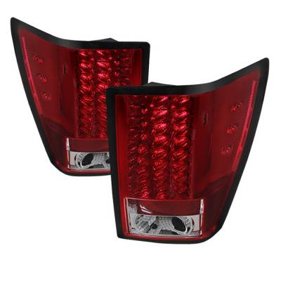Headlights & Tail Lights - Tail Lights - Spyder - Jeep Grand Cherokee Spyder LED Taillights - Red Clear - 111-JGC07-LED-RC