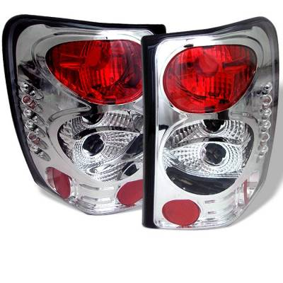 Headlights & Tail Lights - Tail Lights - Spyder - Jeep Grand Cherokee Spyder Euro Style Taillights - Chrome - 111-JGC99-C