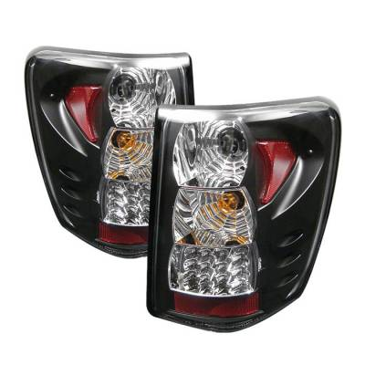 Headlights & Tail Lights - Tail Lights - Spyder - Jeep Grand Cherokee Spyder LED Taillights Version 2 - Black - 111-JGC99-LED-BK-G2