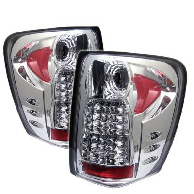 Headlights & Tail Lights - Tail Lights - Spyder - Jeep Grand Cherokee Spyder LED Taillights - Chrome - 111-JGC99-LED-C