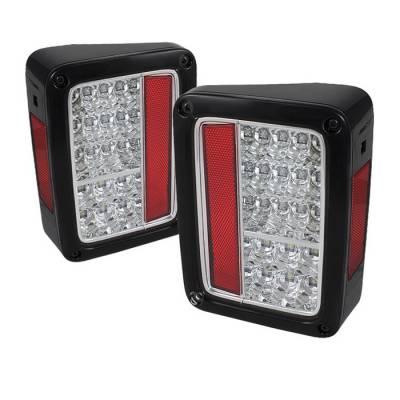 Headlights & Tail Lights - Tail Lights - Spyder - Jeep Wrangler Spyder LED Taillights - Chrome - 111-JWA07-LED-C