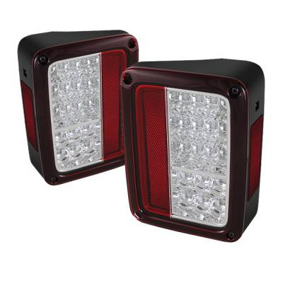 Headlights & Tail Lights - Tail Lights - Spyder - Jeep Wrangler Spyder LED Taillights - Red Clear - 111-JWA07-LED-RC