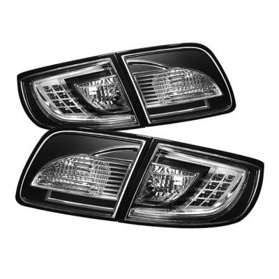 Headlights & Tail Lights - Tail Lights - Spyder - Mazda 3 4DR Spyder LED Taillights - Black - 111-M303-LED-BK