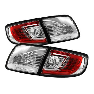 Headlights & Tail Lights - Tail Lights - Spyder - Mazda 3 4DR Spyder LED Taillights - Red Clear - 111-M303-LED-RC