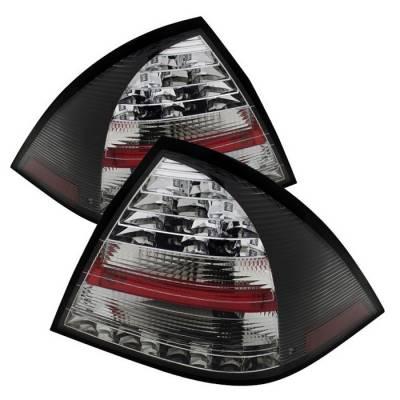 Headlights & Tail Lights - Tail Lights - Spyder - Mercedes-Benz C Class Spyder LED Taillights - Black - 111-MBZC01-LED-BK