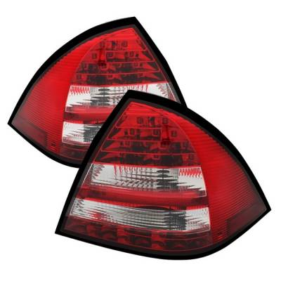 Headlights & Tail Lights - Tail Lights - Spyder - Mercedes-Benz C Class Spyder LED Taillights - Red Clear - 111-MBZC01-LED-RC