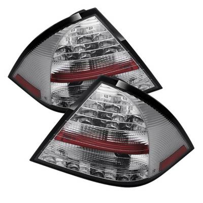 Headlights & Tail Lights - Tail Lights - Spyder - Mercedes-Benz C Class Spyder LED Taillights - Chrome - 111-MBZC05-LED-C