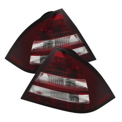 Headlights & Tail Lights - Tail Lights - Spyder - Mercedes-Benz C Class Spyder LED Taillights - Red Clear - 111-MBZC05-LED-RC