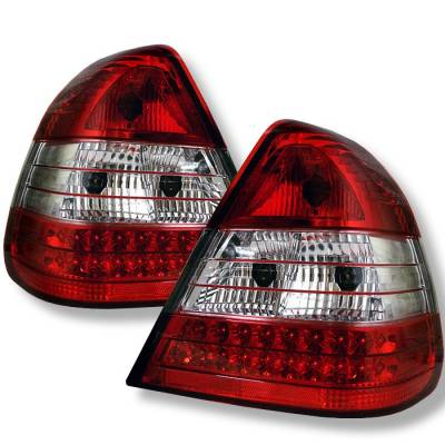 Headlights & Tail Lights - Tail Lights - Spyder - Mercedes-Benz C Class Spyder LED Taillights - Red Clear - 111-MBZC94-LED-RC