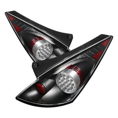 Headlights & Tail Lights - Tail Lights - Spyder - Nissan 350Z Spyder LED Taillights - Black - 111-N350Z02-LED-BK
