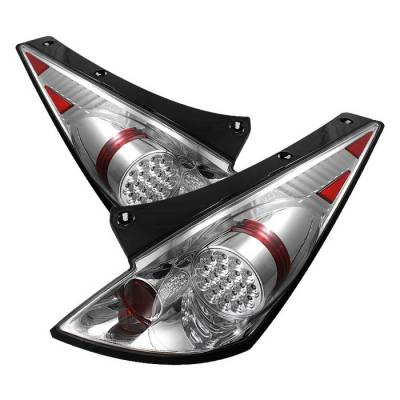 Headlights & Tail Lights - Tail Lights - Spyder - Nissan 350Z Spyder LED Taillights - Chrome - 111-N350Z02-LED-C