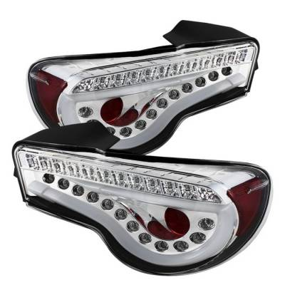 Headlights & Tail Lights - Tail Lights - Spyder - Scion FRS Spyder Light Bar LED Taillights - Chrome - 111-SFRS12-LBLED-C